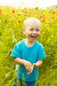Funny little boy in the spring  field — Stock Photo