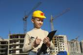 Boy superintendent of building a new home — Stockfoto