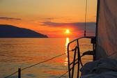 Sunrise aboard a sailing yacht — Stock Photo