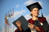 Scientist woman with a book — Stock Photo