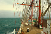 On the deck of an old sailing ship — Stock Photo