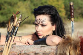 Beautiful girl-warrior - Amazon — Stock Photo
