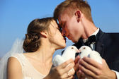 Wedding couple with pigeons — Stock Photo