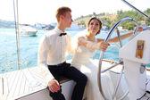 Honeymoon cruise on a yacht — Stock Photo