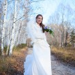 Young beautiful happy slim smiling bride girl woman on autumn wi — Stock Photo #59359965
