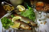 Trout with a lemon and muscat wine — Stock Photo