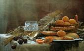 Still-life with white wine, apricots and flat cakes  — Stock Photo