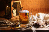 Beer in a transparent mug — Stock Photo