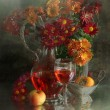 Wine, apple, persimmon and bouquet from chrysanthemums — Stock Photo #61991469