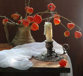 Candle and Physalis — Stock Photo