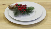 Branch of an artificial pine with red berries and white plates — Stockfoto