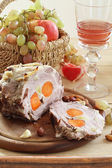 Boiled pork filled with carrots and garlic and wine in a transpa — Stock Photo