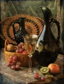 Wine, grapes and jug — Stock Photo