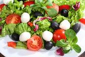 Салат с сыром моцарелла, помидоры, оливки, салат — Стоковое фото