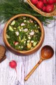 Okroshka with kvass in a wooden bowl submitted with rye bread — Stock Photo