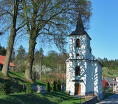 Catholic old village church in small village — Stock Photo