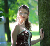 Portrait of bride in summer park — Stock Photo