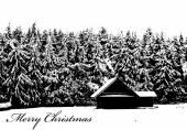 Merry Christmas Winter Log Cabin — Stok Vektör