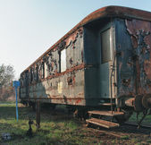Old abandoned  trains at  depot in sunny day — Stock Photo