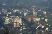 Small city in december morning — Foto Stock