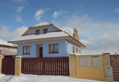 New modern house in village in winter  — Foto de Stock