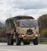 Brno,Czech Republic-March 30,2015:Dragoon Ride - US army convoy  — Stock Photo