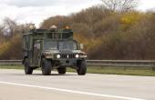 BRNO,CZECH REPUBLIC-MARCH 30,2015: Dragoon Ride -US army convoy drives on March 30,2015  through Brno , returns from the Baltic countries to a German base, enters the territory of the Czech Republic. — Stock Photo