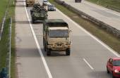Dragoon Ride - US army convoy drives through Czech Republic  — Stockfoto