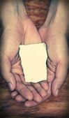 Blank Stone Block In Hands — Stock Photo