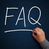 FAQ On Chalkboard — Stock Photo