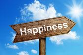 Sinal de trânsito de felicidade — Fotografia Stock