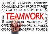 Teamwerk word cloud — Stockfoto