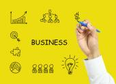 Businessman hand drawing business strategy concept — Stock Photo