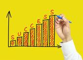 Mão de empresário desenho conceito gráfico de sucesso — Fotografia Stock