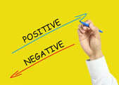 Businessman hand drawing positive and negative concept — Stock Photo