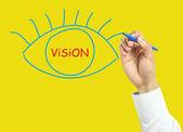 Бизнесмен рук рисования видение концепции — Стоковое фото