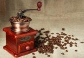 Kahve çekirdeği ve kahve öğütücü — Stok fotoğraf
