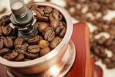 Tatlı kahve bakla ve Kahve değirmeni — Stok fotoğraf