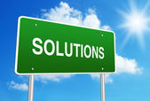 Solutions road sign — Stock Photo