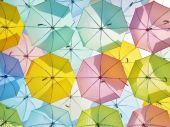 Multicolored umbrellas in pastel style. — Foto de Stock