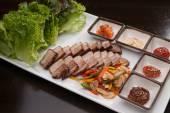 Prato de carne de porco estilo coreano — Fotografia Stock