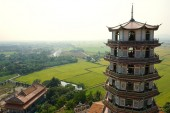 Chinese tower style with rice field  — Stockfoto