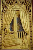 Wood carving Thai Buddha story art  — Stockfoto