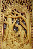 Wood carving Thai Buddha story art  — Photo