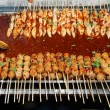 Meat and fish balls grilled with spicy sauce — Stock Photo #62134753