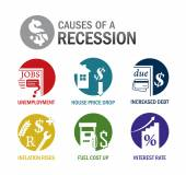 Causes of a recession icons — Stock Vector