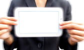 Showing white tablet — Stock Photo