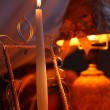 Candle burning in the frame, orange background, lampshade — ストック写真 #59446163