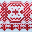 Slavic ornament, cross-stitch, red pattern, embroidery. — Stock Photo #60762179