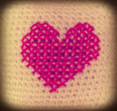 Valentine, knitting heart, embroidery — Stock Photo